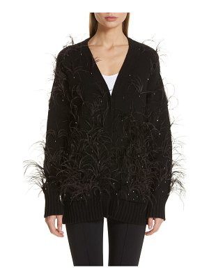 Adam Lippes crystal and feather embellished wool & cashmere cardigan