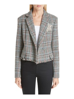 Adam Lippes crystal embellished harris tweed jacket