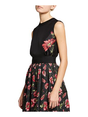 Adam Lippes Floral-Printed Sleeveless Wool Top