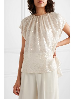 Adam Lippes gathered sequined crepe top