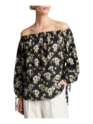 Adam Lippes Off-the-Shoulder Floral Top