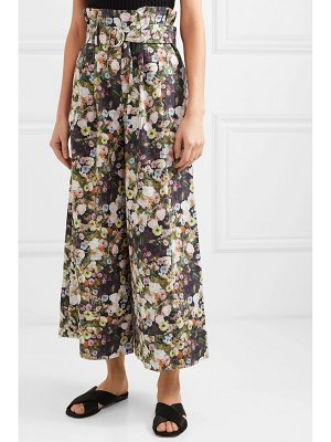 Adam Lippes oversized belted floral-print cotton-poplin pants