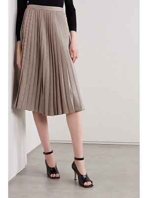 Adam Lippes pleated houndstooth silk and wool-blend skirt