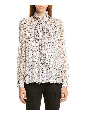 Adam Lippes pleated print chiffon blouse with removable tie
