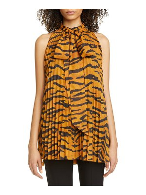 Adam Lippes pleated tiger print voile halter blouse