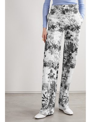 Adam Lippes printed cotton-blend twill wide leg pants