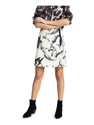 Adam Lippes printed wool mini wrap skirt with buttons