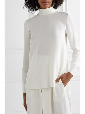 Adam Lippes pussy-bow satin-trimmed crepe blouse