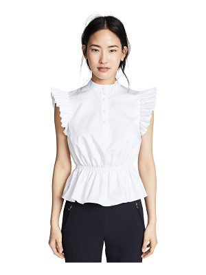 Adam Lippes ruffle sleeve top with placket
