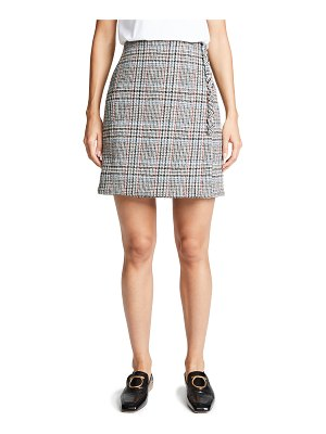 Adam Lippes scottish tweed mini wrap skirt with buttons