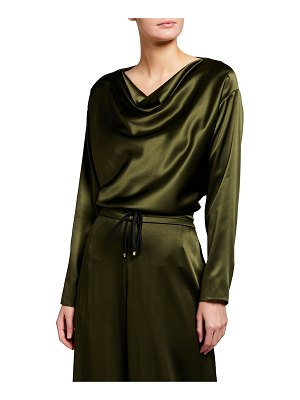 Adam Lippes Silk Charmeuse Cowl-Neck Top