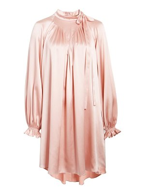 Adam Lippes tie neck long sleeve silk charmeuse minidress