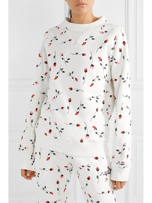 Adam Selman Sport floral-print cotton-blend fleece sweatshirt