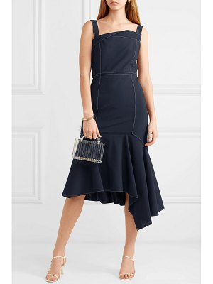 Adeam asymmetric wool-blend midi dress