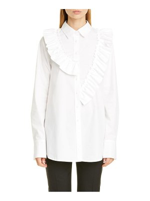 Adeam asymmetrical ruffle poplin shirt