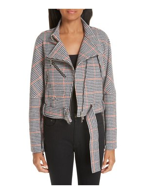 Adeam asymmetrical tweed moto jacket