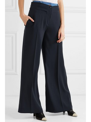 Adeam layered denim-trimmed crepe wide-leg pants