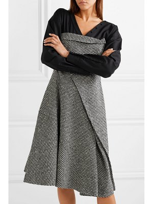 Adeam layered houndstooth wool-blend and cotton-blend midi dress