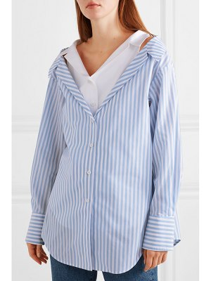 Adeam layered striped cotton-poplin shirt