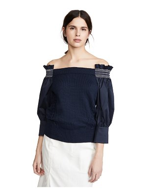Adeam off shoulder smocking sweater