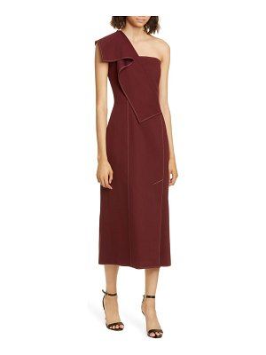 Adeam ruffle one-shoulder twill midi dress