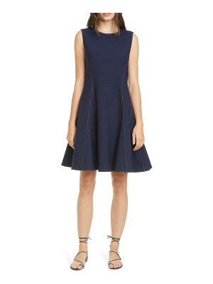 Adeam water drop contrast stitch crepe fit & flare dress