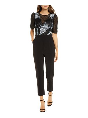 Adelyn Rae alexandria embroidered mesh jumpsuit
