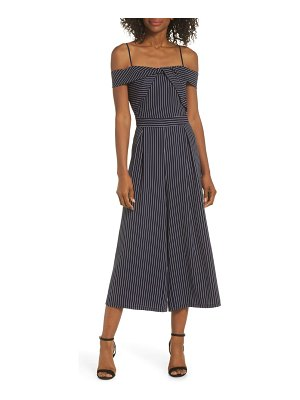 Adelyn Rae emrata off the shoulder culotte jumpsuit