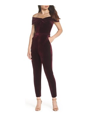 Adelyn Rae liv off the shoulder velvet jumpsuit