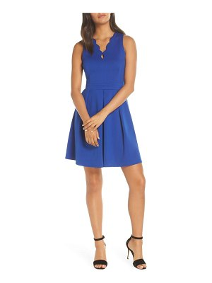 Adelyn Rae scallop v-neck fit & flare dress