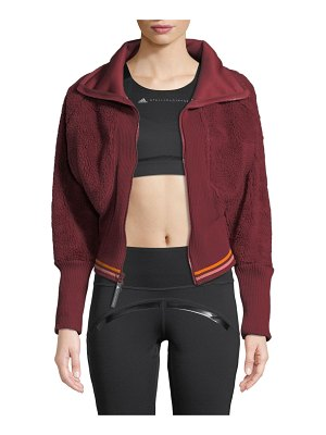 adidas by Stella McCartney Training Fleece Cropped Zip-Front Activewear Jacket