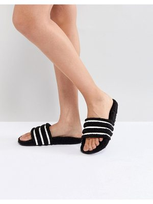 adidas Originals Adilette Furry Slider Sandals In Black