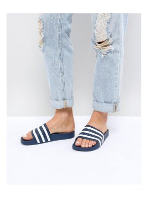 adidas Originals Adilette Slider Sandals In Navy And White