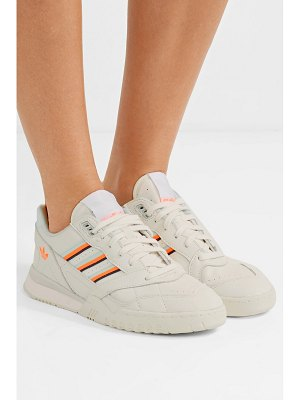 adidas Originals a.r. trainer grosgrain-trimmed quilted leather sneakers - off-white