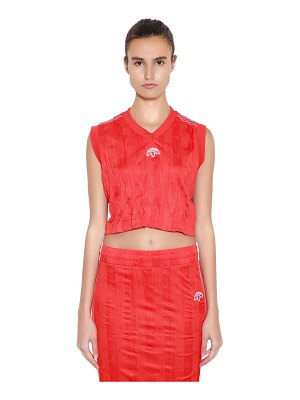 adidas Originals by Alexander Wang Aw wrinkled logo jacquard cropped top