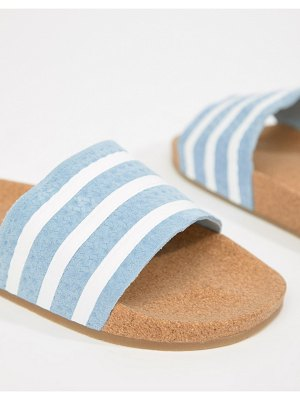 adidas Originals Cork Adilette Slider Sandals In Blue