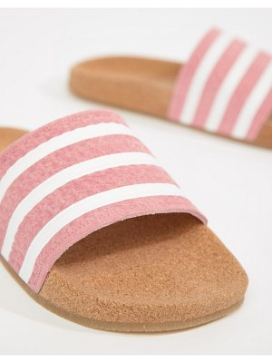 adidas Originals Cork Adilette Slider Sandals In Pink