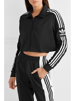 adidas Originals cropped striped tech-jersey track jacket