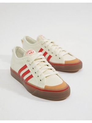 adidas Originals Nizza Canvas Sneakers In White And Red