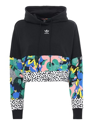adidas Originals Printed crop cotton sweatshirt hoodie