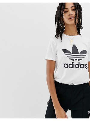 adidas Originals trefoil logo t-shirt in white