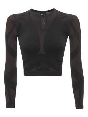 ADIDAS X WOLFORD Sheer motion cropped long sleeve top