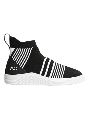 ADNO Striped knit slip-on mid top sneakers