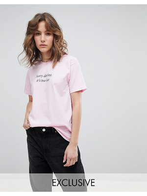 Adolescent Clothing Boyfriend T-Shirt With Too Late Darling Print
