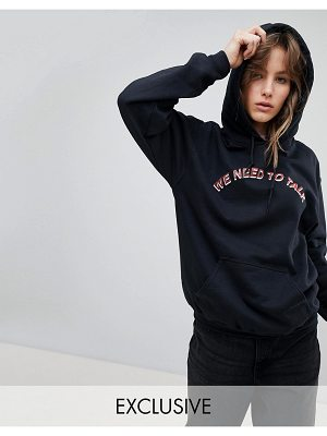 Adolescent Clothing Oversized Hoodie With We Need To Talk Print