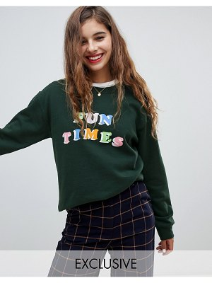 Adolescent Clothing oversized sweatshirt with fun times print