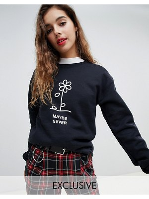 Adolescent Clothing oversized sweatshirt with maybe never print