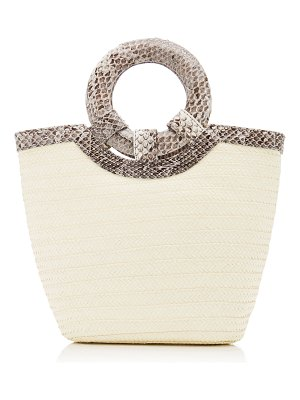 Adriana Castro natural watersnake trimmed straw tote
