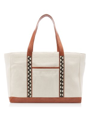 Adriana Castro snake-trimmed canvas tote