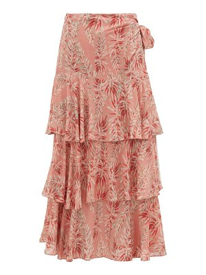 ADRIANA DEGREAS aloe-print high-rise tiered poplin wrap skirt